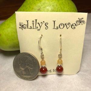 Canelian and Peach Adventurine Earrings